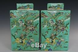 Chinese Beautiful Three Color Glaze Porcelain Warriors Characters Tea Caddies