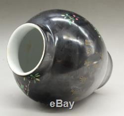 Chinese Black Glaze Porcelain Famille Rose Flower Bird Cover Pot Tea Caddy Pair