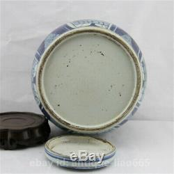 Chinese Blue White Porcelain Ancient Lovable Child Pot Kettle Tea Canister Caddy