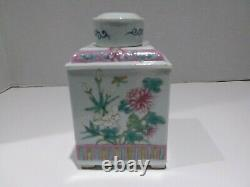 Chinese Export Famille Rose Porcelain Tea Caddy Square butterfly Floral