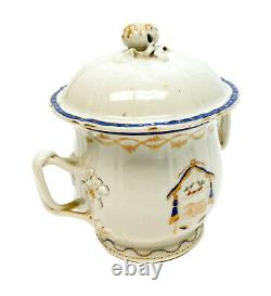 Chinese Export Porcelain Double Handled Tea Caddy, Armorial Crest, 19th Century