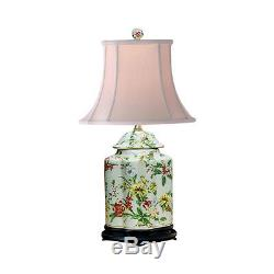 Chinese Floral Pattern Scalloped Porcelain Tea Caddy Table Lamp 22