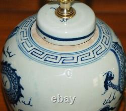 Chinese GINGER JAR LAMPS Dragons Pair Blue & White Porcelain Tea Caddy Vases 7-S