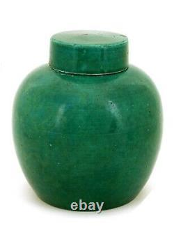 Chinese Green Crackle Monochrome Porcelain Tea Caddy Jar AS IS Staple Repair
