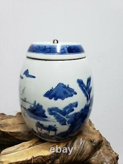 Chinese Hand-painted Blue&White Porcelain Tea Caddy Jar