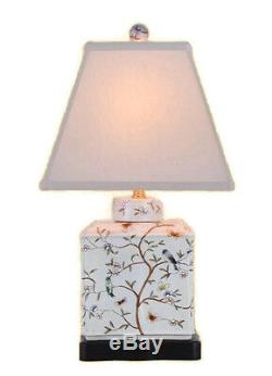 Chinese Porcelain Bird Motif Tea Caddy Table Lamp 20