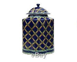 Chinese Tea Caddy Cobalt Blue Famille Verte Porcelain Lobed Covered Jar