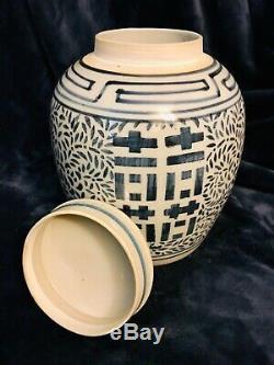 Chinese Vintage Porcelain Blue & White Ginger Jar Urn Pot Tea Caddy 9.75