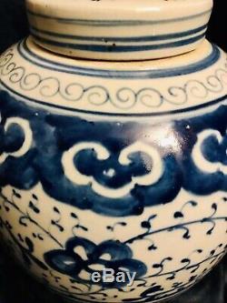 Chinese Vintage Porcelain Blue & White Ginger Jar Urn Vase Pot Tea Caddy 9