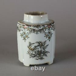 Chinese grisaille and gilt moulded quatrefoil tea caddy, Qianlong (1736-95)