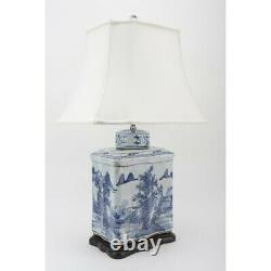 Chinese oriental porcelain blue & white CANTON RECTANGULAR TEA CADDY LAMP 31.5