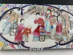 Chinese porcelain Ceramic LIDDED TRINKET BOX TEA CADDY 8.25x4x4 antique vtg