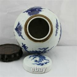 Collect China Blue White Porcelain Dragon Phoenix Pot Kettle Tea Canister Caddy