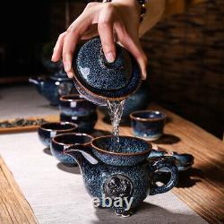 Complete tea set JianZhan TianMu Glaze kiln change porcelain tea pot caddy cups