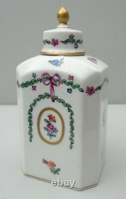 Dresden porcelain tea caddy rectangular with canted angles and domed top