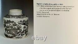 Early English Pearlware Transfer Print Tea Caddy Chinoiserie Provenance c. 1820