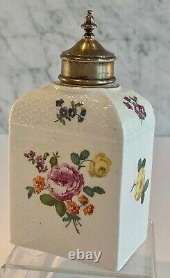 Early Meissen Porcelain Floral Domed Basketweave Molded Tea Caddy Lid 18th C