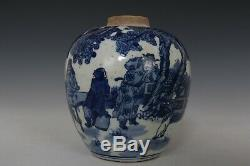 Fine Beautiful Chinese Blue and White Porcelain Characters Tea Caddies