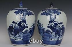 Fine Beautiful Chinese Pair Blue and White Porcelain FU LU SHOU Tea Caddies