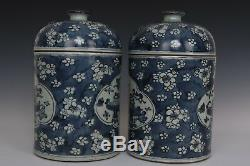 Fine Beautiful Pair Chinese Blue and White Porcelain Wintersweet Tea Caddies