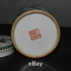 Fine China Old Green Color Porcelain Tea Caddy Lid Jar tank Pot