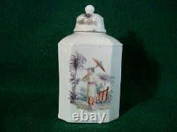 Fine Rare Closter-Veilsdorf Tea Caddy c1765 Antique German Porcelain Chinoiserie