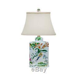 Floral Bird Motif Porcelain Tea Caddy Table Lamp 19.5