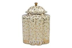Floral Spotted Porcelain Scalloped Tea Caddy Jar 13