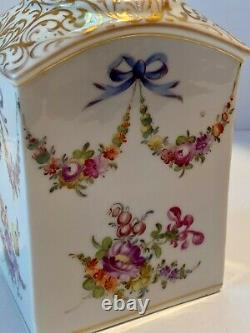 German Dresden Floral Bow Swag Tea Caddy Provenance c. 1880