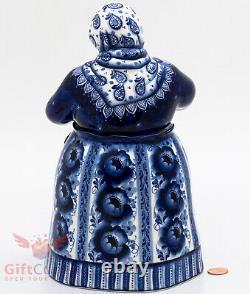 Gzhel porcelain Tea caddy Bowl Jar Matrena handmade figurine 1.4L