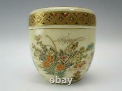 Japanese Antique Tea Ceremony Caddy Natsume Satyuma Porcelain Gold Golden Japan