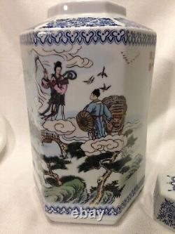 Japanese Asian Genuine Porcelain Tea Caddy Jar Signed & Stamped/Hexagon/9 Tall