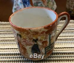 Japanese Kutani Porcelain Painted Gold Moriage Chocolate Pot with 5 Cups
