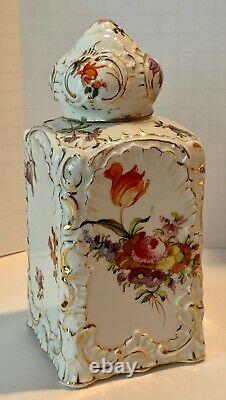 Large German Polychrome Floral Gilt Tea Caddy Domed Lid c. 1880