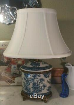 Lovely 17 Blue & White Porcelain Oriental Bird/Floral Table/Desk Lamp Tea Caddy