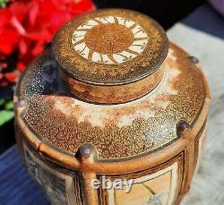 MINI satsuma ginger jar vtg tea caddy ceramic gold japanese porcelain painting