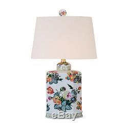 Multicolor Floral Motif Porcelain Tea Caddy Table Lamp 19.5