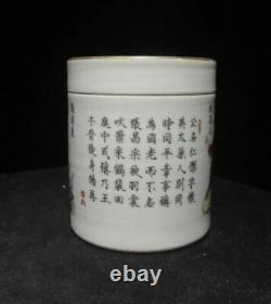 Old Chinese Hand Painted Porcelain Cover Pot Tea Caddy Marked DaoGuang
