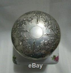 Old Sevres Porcelain French Sterling Silver Cap Mercury Hallmarks Tea Caddy Box