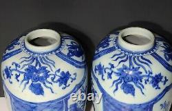 Pair Chinese Blue & White Porcelain Vases / Tea Caddy Jars Kangxi 20th c