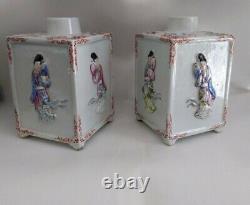 Pair Chinese Famille Rose Porcelain Tea Caddies Lady Figurine Figure Mark China