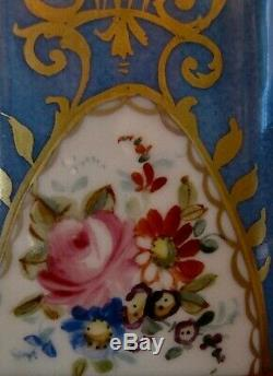 Pair Sevres French Blue Porcelain Canisters, Tea Caddy, Apothecary Jar, Urn