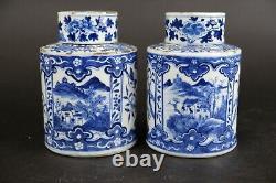 Pair large blue & white antique chinese porcelain tea caddies, 19th C. Landscape