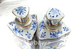 Pair of 19th/20th Antique Edme Samson Tea Caddy Blue/ Cover Porcelain France