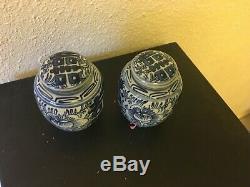Pair of 4 antique Chinese porcelain vtg ginger jar blue & white tea caddy