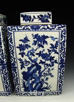 Pair of Chinese Antique Blue&White Porcelain Lidded Tea Caddies