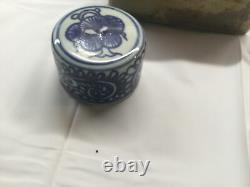 Qing Dynsasty Tea Caddy Porcelain Blue And White With Porcelain Cap