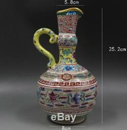 Qing Yong Zheng handled ewer Vase Porcelain Chinese Ceramic Antique Reproduction