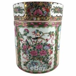 Rare Qianlong Chinese Famille Rose Lidded Tobacco Humidor Tea Caddy Large