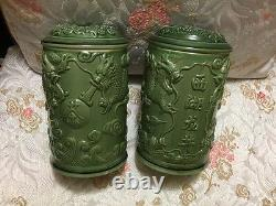 Set Of Two Chinese Dragon Porcelain Covered Tea Tobacco Spice Canister Jar
